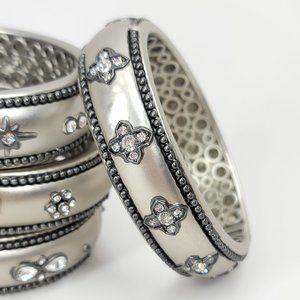 NWT Art Deco Pave CZ Hinged Magnetic Cuff Bangle
